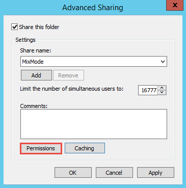 how to change properties for nfs share windows